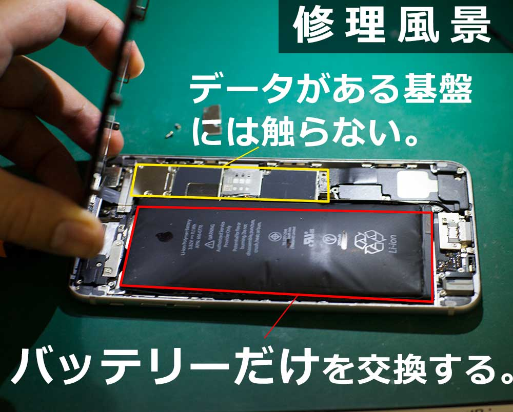 iPhoneの基盤には触らずにバッテリー交換をするため、データはそのままで修理している。