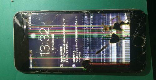 液晶がダメになったiPhone